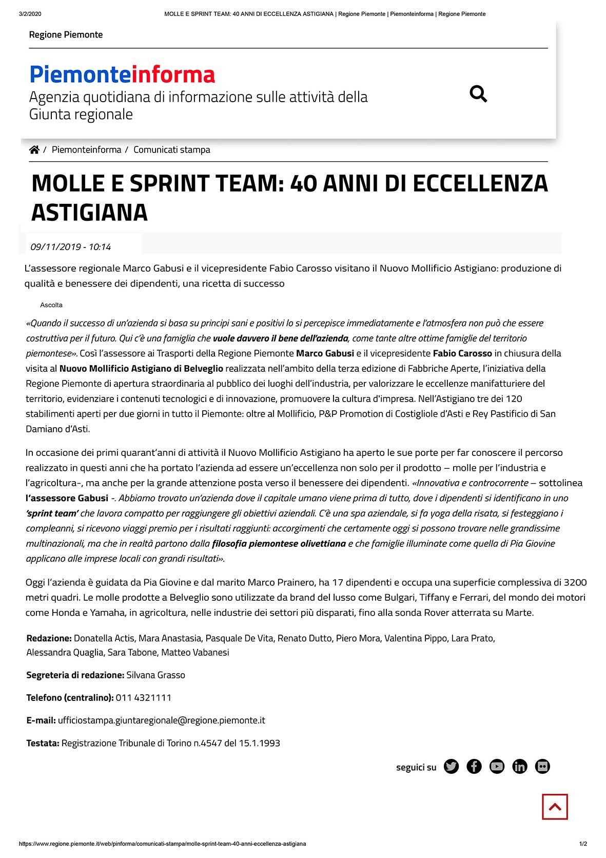 piemonte informa nov 2019_40anni